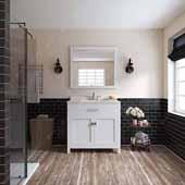Caroline 36'' Single Bathroom Vanity Set in White, Dazzle White Quartz Top with Round Sink, Mirror Included
