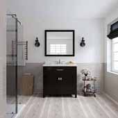 Caroline 36'' Single Bathroom Vanity Set in Espresso, Dazzle White Quartz Top with Square Sink, Polished Chrome Faucets, Mirror Included
