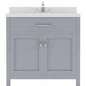 Caroline 36'' Single Bathroom Vanity Set in Grey, Dazzle White Quartz Top with Square Sink