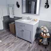 Caroline 36'' Single Bathroom Vanity Set in Grey, Dazzle White Quartz Top with Square Sink, Polished Chrome Faucets, Mirror Included