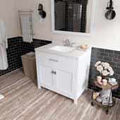 Caroline 36'' Single Bathroom Vanity Set in White, Dazzle White Quartz Top with Square Sink, Mirror Included