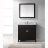 Caroline 36'' Single Bathroom Vanity Set in Espresso, Italian Carrara White Marble Top with Round Sink, Available with Optional Faucet, Mirror Included