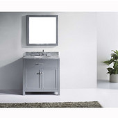 Caroline 36'' Single Bathroom Vanity Set in Grey, Italian Carrara White Marble Top with Round Sink, Available with Optional Faucet, Mirror Included