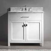 Caroline 36'' Single Bathroom Vanity Set in Espresso, Italian Carrara White Marble Top with Round Sink