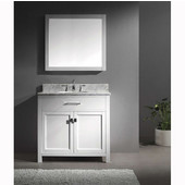 Caroline 36'' Single Bathroom Vanity Set in White, Italian Carrara White Marble Top with Round Sink, Available with Optional Faucet, Mirror Included