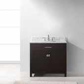 Caroline 36'' Single Bathroom Vanity Set in Espresso, Italian Carrara White Marble Top with Square Sink