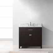 Caroline 36'' Single Bathroom Vanity Set in Espresso, Italian Carrara White Marble Top with Square Sink