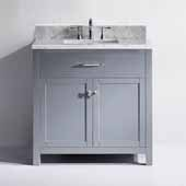 Caroline 36'' Single Bathroom Vanity Set in Grey, Italian Carrara White Marble Top with Square Sink
