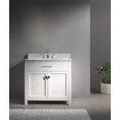 Caroline 36'' Single Bathroom Vanity Set in White, Italian Carrara White Marble Top with Square Sink