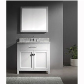 Caroline 36'' Single Bathroom Vanity Set in White, Italian Carrara White Marble Top with Square Sink, Available with Optional Faucet, Mirror Included