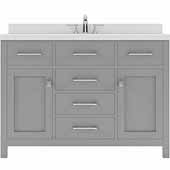 Caroline 48'' Single Bathroom Vanity Set in Cashmere Grey, Dazzle White Quartz Top with Round Sink