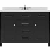 Caroline 48'' Single Bathroom Vanity Set in Espresso, Dazzle White Quartz Top with Round Sink