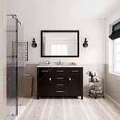 Caroline 48'' Single Bathroom Vanity Set in Espresso, Dazzle White Quartz Top with Round Sink, Polished Chrome Faucets, Mirror Included