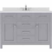 Caroline 48'' Single Bathroom Vanity Set in Grey, Dazzle White Quartz Top with Round Sink