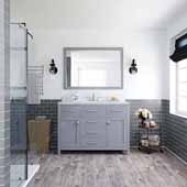 Caroline 48'' Single Bathroom Vanity Set in Grey, Dazzle White Quartz Top with Round Sink, Brushed Nickel Faucets, Mirror Included