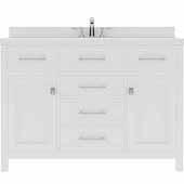 Caroline 48'' Single Bathroom Vanity Set in White, Dazzle White Quartz Top with Round Sink