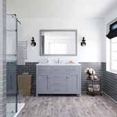 Caroline 48'' Single Bathroom Vanity Set in Grey, Dazzle White Quartz Top with Square Sink, Polished Chrome Faucets, Mirror Included