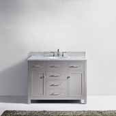Caroline 48'' Single Bathroom Vanity Set in Cashmere Grey, Italian Carrara White Marble Top with Round Sink