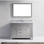 Caroline 48'' Single Bathroom Vanity Set in Cashmere Grey, Italian Carrara White Marble Top with Round Sink, Brushed Nickel Faucet, Mirror Included