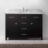 Caroline 48'' Single Bathroom Vanity Set in Espresso, Italian Carrara White Marble Top with Round Sink