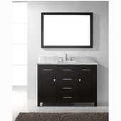 Caroline 48'' Single Bathroom Vanity Set in Espresso, Italian Carrara White Marble Top with Round Sink, Available with Optional Faucet, Mirror Included
