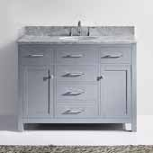Caroline 48'' Single Bathroom Vanity Set in Grey, Italian Carrara White Marble Top with Round Sink