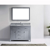 Caroline 48'' Single Bathroom Vanity Set in Grey, Italian Carrara White Marble Top with Round Sink, Available with Optional Faucet, Mirror Included