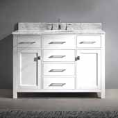 Caroline 48'' Single Bathroom Vanity Set in White, Italian Carrara White Marble Top with Round Sink