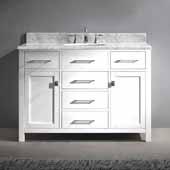 Caroline 48'' Single Bathroom Vanity Set in White, Italian Carrara White Marble Top with Round Sink