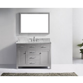 Caroline 48'' Single Bathroom Vanity Set in Cashmere Grey, Italian Carrara White Marble Top with Square Sink, Brushed Nickel Faucet, Mirror Included