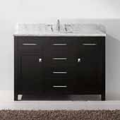 Caroline 48'' Single Bathroom Vanity Set in Espresso, Italian Carrara White Marble Top with Square Sink, Brushed Nickel Faucet