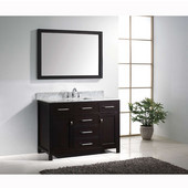 Caroline 48'' Single Bathroom Vanity Set in Espresso, Italian Carrara White Marble Top with Square Sink, Available with Optional Faucet, Mirror Included