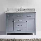Caroline 48'' Single Bathroom Vanity Set in Grey, Italian Carrara White Marble Top with Square Sink, Brushed Nickel Faucet