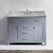 Caroline 48'' Single Bathroom Vanity Set in Grey, Italian Carrara White Marble Top with Square Sink, Brushed Nickel Faucet