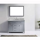 Caroline 48'' Single Bathroom Vanity Set in Grey, Italian Carrara White Marble Top with Square Sink, Available with Optional Faucet, Mirror Included