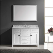 Caroline 48'' Single Bathroom Vanity Set in White, Italian Carrara White Marble Top with Square Sink, Available with Optional Faucet, Mirror Included