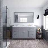 Caroline 60'' Single Bathroom Vanity Set in Grey, Dazzle White Quartz Top with Round Sink, Mirror Included