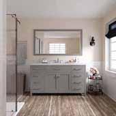 Caroline 60'' Single Bathroom Vanity Set in Cashmere Grey, Dazzle White Quartz Top with Square Sink, Mirror Included