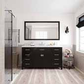 Caroline 60'' Single Bathroom Vanity Set in Grey, Dazzle White Quartz Top with Square Sink, Mirror Included