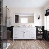 Caroline 60'' Single Bathroom Vanity Set in White, Dazzle White Quartz Top with Square Sink, Mirror Included