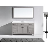 Caroline 60'' Single Bathroom Vanity Set in Cashmere Grey, Italian Carrara White Marble Top with Round Sink, Mirror Included