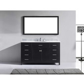 Caroline 60'' Single Bathroom Vanity Set in Espresso, Italian Carrara White Marble Top with Round Sink, Mirror Included