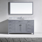 Caroline 60'' Single Bathroom Vanity Set in Grey, Italian Carrara White Marble Top with Round Sink, Mirror Included