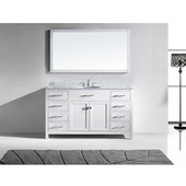 Caroline 60'' Single Bathroom Vanity Set in White, Italian Carrara White Marble Top with Round Sink, Mirror Included