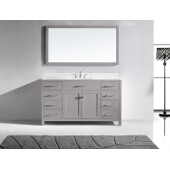 Caroline 60'' Single Bathroom Vanity Set in Cashmere Grey, Italian Carrara White Marble Top with Square Sink, Mirror Included