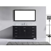 Caroline 60'' Single Bathroom Vanity Set in Espresso, Italian Carrara White Marble Top with Square Sink, Mirror Included