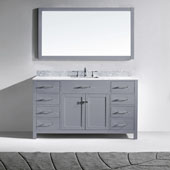 Caroline 60'' Single Bathroom Vanity Set in Grey, Italian Carrara White Marble Top with Square Sink, Mirror Included
