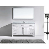 Caroline 60'' Single Bathroom Vanity Set in White, Italian Carrara White Marble Top with Square Sink, Mirror Included