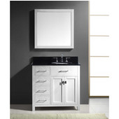 Caroline Parkway 36'' Single Bathroom Vanity Set with Left Side Drawers in White, Black Galaxy Granite Top with Round Sink, Brushed Nickel Faucet, Mirror Included