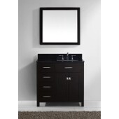 Caroline Parkway 36'' Single Bathroom Vanity Set with Left Side Drawers in Espresso, Black Galaxy Granite Top with Square Sink, Mirror Included